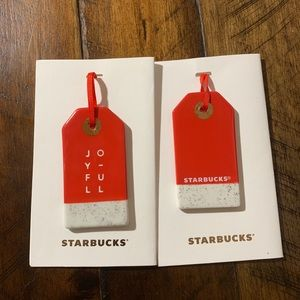 Two Starbucks Ceramic Joyful Ornaments